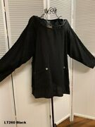 Lt260 Black 1x Nwt Match Point Linen Shirt Pocket Pull Over Top Round Neck Plus