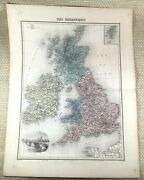 1903 Antique Map Of The British Isles England Ireland Hand Coloured Engraving