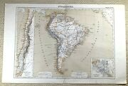 1874 Antique Map Of South America Chile Panama Railroad Old German 19th Century