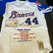 Beautiful Hank Aaron Signed 1974 Braves Authentic Jersey With Stats Steiner Coa