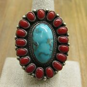 Vintage Sterling Silver Turquoise And Coral Ring Size 9 By Calvin Martinez