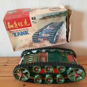 Rare Vtg Somersaulting Space Tank Battery Operated Tin Toy Me 759 Made In China