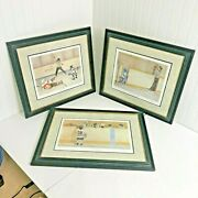 Vtg Lot 3 John Newby Hockey Prints Signed Tripped Up The Novices 2 For Roughin