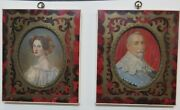 Portraits Of A Man And Woman 2 Framed Oil Paintings Antique 1700's Fashion