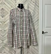 Old Navy Pink Brown Long Sleeve Button Up 100 Cotton Plaid Shirt Blouse 1x
