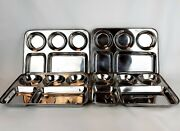 Vintage 4 Pc Stainless Steel Divided Compartment Cafeteria Lunch Trays