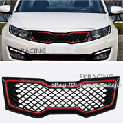 Gloss Black And Red Front Upper Bumper Grille Grill For Kia 2011-2013 Optima K5