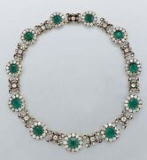 925 Sterling Silver Green Round Cushion Vintage Antique Style Highend Necklace