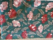 Vintage Sewing Fabric Hoffman Emerald Green Pink Rust Poppies 19.5x45 Cotton