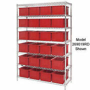 Wire Shelving With 36 6h Grid Container Red 48x18x74