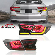 Pair Smoke Led Tail Light Rear Lamps Assembly For 18-2020 Honda Accord New Style