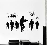 Vinyl Wall Decal War Soldiers Helicopter Military Army Force Stickers G5595