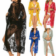 Embroidered Lace Kimono Sleeve Open Front Cardigan Tops Beach Jacket Long Duster
