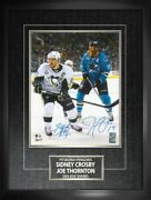 Sidney Crosby / Joe Thornton Dual-signed 11x14 Etched Mat Action-v