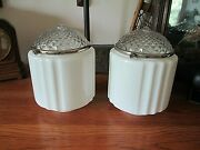 1930and039s Art Deco Pendant Ceiling Light Shades Set Of 2 Kitchen Bathroom Or Hall