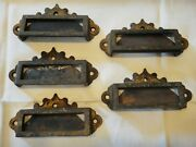 5 Victorian Eastlake Cast Iron Apothecary Bin File Cabinet Pulls W Label Panel