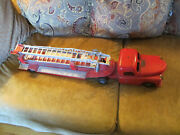 Vintage Old Toys 1950s Structo Toys Pressed Steel Hook And Ladder Fire Truck Toy