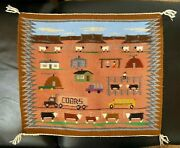 Vtg Collectible Navajo Pictorial Weave Coors Beer Truck Wall Decor 20 X 17