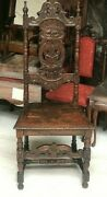 Antique Jacobean Revival Carved Oak Side Chair Mid 19th Century [7198]