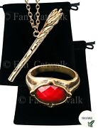 Gandalf Ring And Staff Necklace Set Narya Lord Of The Rings Lotr Hobbit Red Wizard
