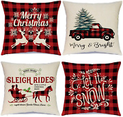 Hlonon Christmas Pillow Covers 18 X 18 Inches Set Of 4 Xmas Series Cushion Cover