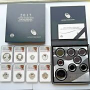 2017 Official U.s. Mint Limited Edition Graded Silver Proof Set. Early Releases