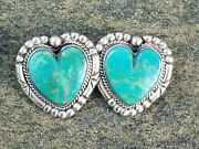 1990's New / Vintage Southwest Style Turquoise And Sterling Heart Earrings
