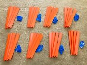 Mattel Hot Wheels Straight Orange Track 12 Pieces And Blue Connectors - 64 Total