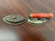 """Vtg Antique Lady Dover Metal Toy Miniature Iron Red Wood Handle 2.5"""""""