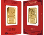Pamp Year Of The Dragon 2012 1 Oz Gold Bar 999.9 Suisse Gold Bar In Assay Rare
