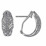 1/4 Ctw Round Natural Diamond Feather Hoop Earrings 14k White Gold