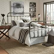 Full Size Bed Vintage Antique Iron Style Metal Headboard Footboard Frame Grey
