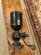 Antique 1800andrsquos Regal Wall Mount Coffee Grinder With Catch Cup- All Original