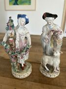 19th Century German Handpainted Pair Of Figures Couple With Sheep And Bird Meissen