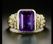 Men's 2.25ct Emerald Amethyst And Diamond Statement Pinky Ring 14k Yellow Gold Fn
