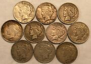 Half-roll Of 10 Mixed Dates Toned Vf Peace Silver Dollars. Mdd41