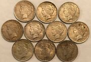 Half-roll Of 10 Mixed Dates Toned Xf Peace Silver Dollars. Mdd38