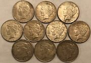 Half-roll Of 10 Mixed Dates Vf Peace Silver Dollars. Mdd42
