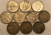 Half-roll Of 10 Mixed Dates Fine Peace Silver Dollars. Mdd44
