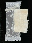 Antique Filet Lace Curtains 6 Pairs Handmade Tulips Scallops 22wx64l Lovely