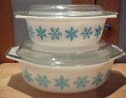2 Pyrex White With Blue Snowflake Oval Casseroles 043 045