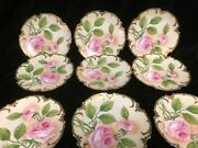 9 Hand Painted And Signed Antique German Dessert Plates With Pink Roses