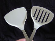 Amco Wide Solid And Slotted Spatula Turner Flipper 2pc Set Sturdy Kitchen Utensils