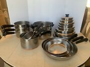 Vintage Revere Ware Stainless Steel Copper Clad Cookware 20 Piece Set With Lids