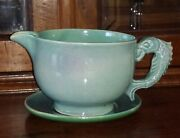 Lovely And Rare Australian Pottery Jug And Saucer By Klytie Pate - 21.4cm