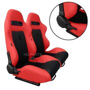 2 X Tanaka Red Pvc Leather Black Suede Adjustable Racing Seats For Chevrolet