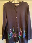 Quacker Factory Embroidered Sequin And Stud Tree Button Front Gray Cardigan Sz Xl