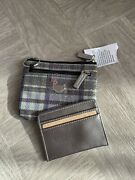 New Buxton Card Coin Case Removable Id Wallet Keychain Silver Plaid Glitter