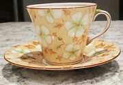 Aynsley Tea Cup And Saucer-bone China - England - Peach With White/green Clover