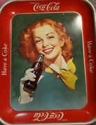 Vintage 1950and039s Coca-cola Redhead Girl Serving Tray Solid Background Excellent